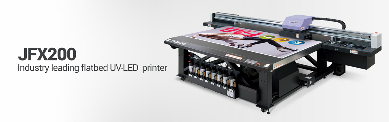 Mimaki JFX200-2513 wide format flatbed LED UV printer