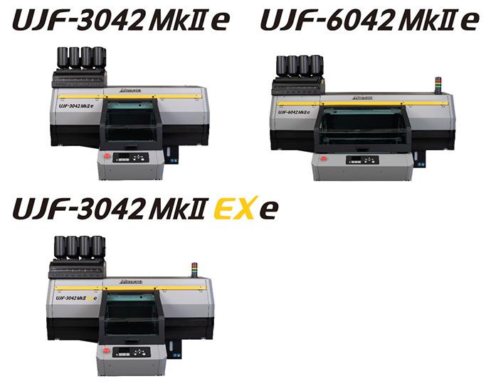 """UJF-3042MkII e"", ""UJF-6042MkII e"" and ""UJF-3042MkII EX e"" | Flatbed UV-LED Inkjet Printer"