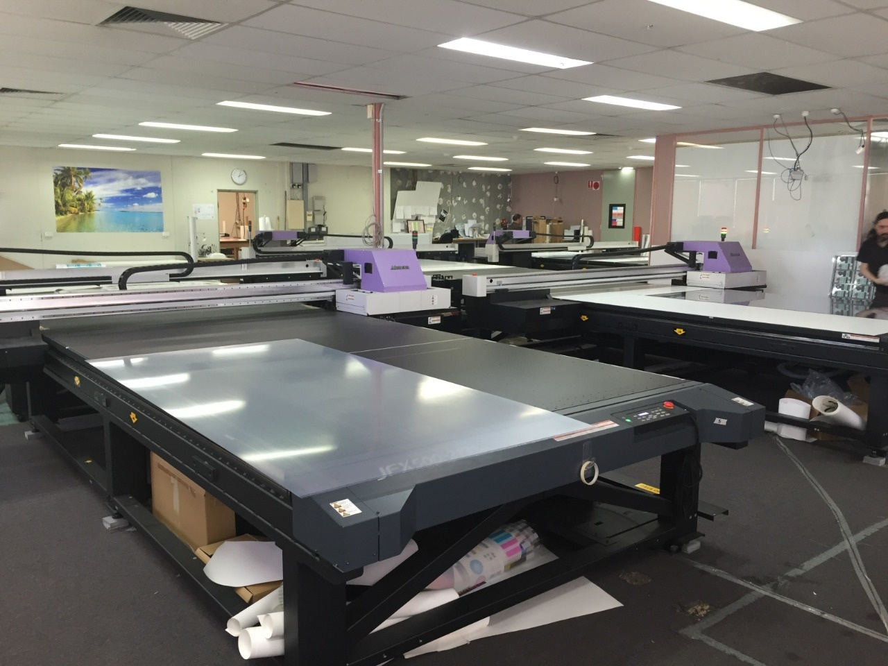 5 x JFX500-2131 LED UV Flatbed Printers in the one location - Avon's Melbourne facility