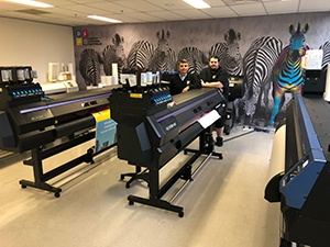 John and Anthony with their Mimaki fleet of printers
